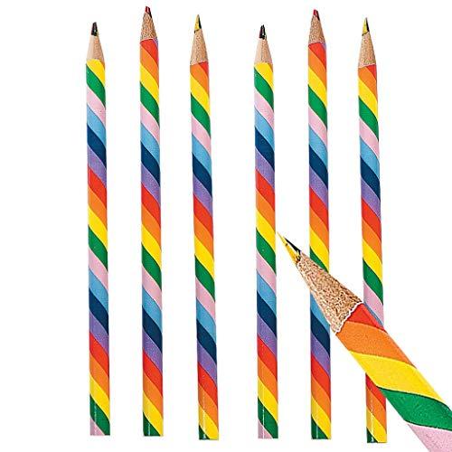 Elfen und Zwerge - Buntstift Regenbogen - mit bunter Mine - Zauberstift - Mehrfarbig - Mitgebsel Kindergeburtstag - 6 Stück