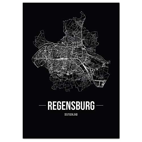 JUNIWORDS Stadtposter - Wähle Deine Stadt - Regensburg - 60 x 90 cm Poster - Schrift B - Schwarz