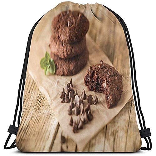 Trekkoord Rugzak Tassen Sport Gym Cinch Tas, Chocolade Drops Op Een Wrapping Papier Stapels Suikerstapels Bites