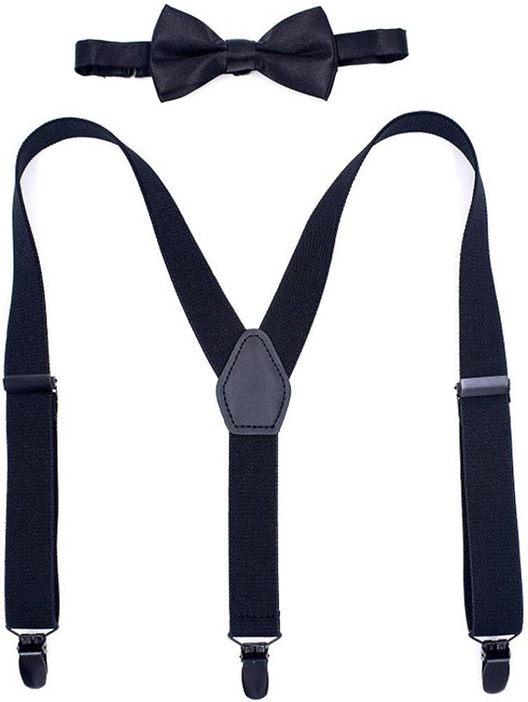 Booluee Mens Suspenders and Bow Tie Set, 3 Metal Clips Y Back Style Suspenders Wide Adjustable Elastic Braces