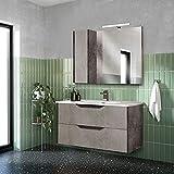 dmora mobile sottolavabo con lavabo in ceramica incluso, made in italy, cm 101 x 147 x 170, colore ossido e cemento