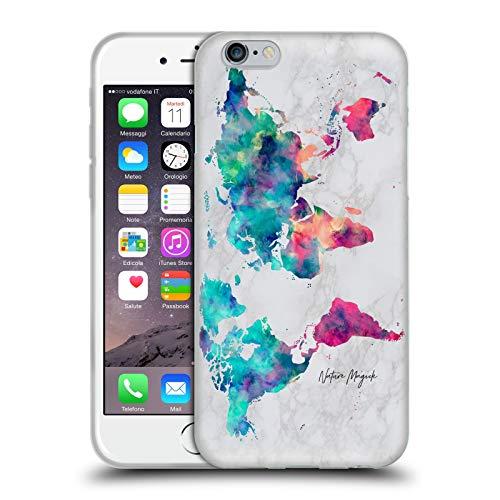 Head Case Designs Licenza Ufficiale Nature Magick Turchese Fucsia Continenti Mappa del Mondo su Marmoreo Cover in Morbido Gel Compatibile con Apple iPhone 6 / iPhone 6s