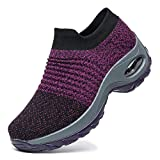 Rotok Damen Sneaker Air Cushion Slip-On Gewichte Laufschuhe Gym Sport Outdoor Walking Atmungsaktiv...