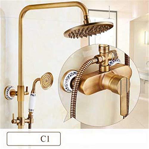 ZHShower Acero inoxidable moderna Columna Sistema de ducha de baño con barra de elevación ajustable de tres velocidades de cobre antiguo montado en la pared porcelana azul y blanca C1 - gemstone