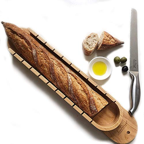 Baguette Bread Slicer & Bread Knife Set | 2-piece set contains a solid beech baguette bread slicing board and a professional quality stainless steel bread knife | From Jean Patrique