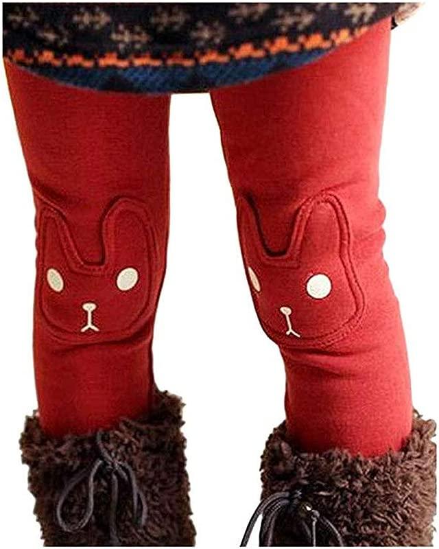BOWKITE Kids Girls Winter Leggings Bunny Printed Thick Warm Fleece Pants For 2 7 Years