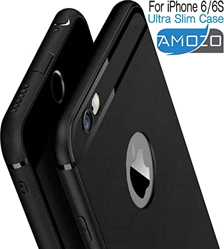 Amozo Soft Silicone With Anti Dust Plugs Shockproof Slim Back Cover Case Compatible For Apple Iphone 6 Iphone 6S Black