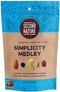Second Nature Simplicity Medley Trail Mix - Healthy Nuts Snack Blend, Gluten Free - 14 oz Resealable Pouch (Pack of 6)