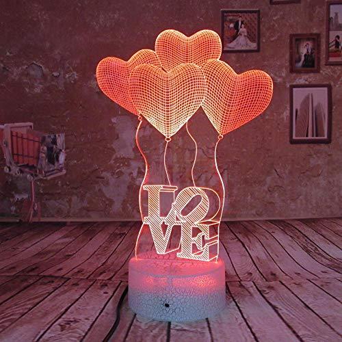 BFMBCHDJ Erstaunliche optische Täuschungs-Noten-Nachtlicht-LED Schreibtisch-Lampen-Kunst-Stück 7 ändernde Farben USB trieben Valentinsgruß-Dekorations-Geschenke an