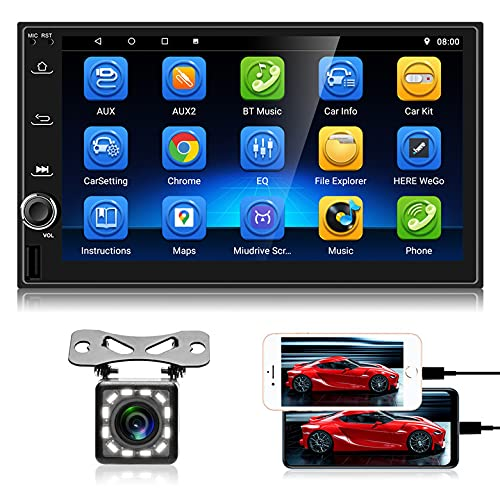 Radio de Coche Android con Bluetooth - Reproductor de Coche con Pantalla táctil Doble DIN de 7 Pulgadas con cámara de visión Trasera, WiFi, GPS Navi, Soporte MirrorLink / Pantalla Dividida / Radio FM