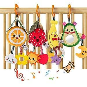 Sonajeros de frutascolgar, juguetes para bebés, aguacate, plátano, naranja fresa, cochecito de bebé juguete para cuna sonajero suave de felpa mordedores regalos cumpleaños niños niñas 3 6 9 12 meses