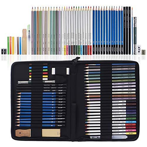 51 Piezas Set Dibujo Artistico Con Lapices Acuarelables, Lapices De Dibujo, Lapiz Grafito En Cartuchera Lapices para Colorear Libros Y Páginas, El mejor regalo para estudiantes, niños