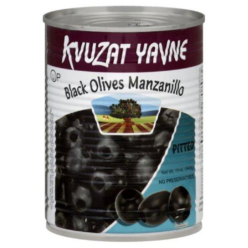 Kvuzat Yavne Olives Black Pitted, 19-Ounce (Pack of 4)