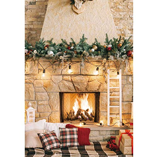 Haboke 5x7ft Soft Durable Fabric Christmas Fireplace Theme Backdrop for Photography Christmas Tree Decorations for Xmas Party Supplies Banner Background Pictures Photo Studio Decor Booth Props