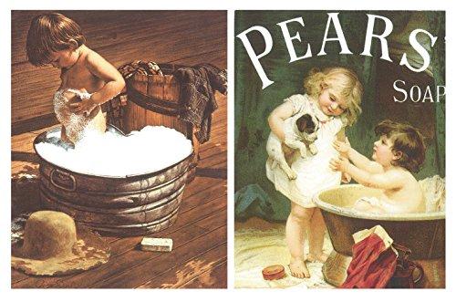 Cuadros de baño niño/niños Pears Soap. Set de 2 Unidades de 19 cm x 25 cm x 4 mm unid. Adhesivo FÁCIL COLGADO. Adorno Decorativo. Decoración Pared hogar