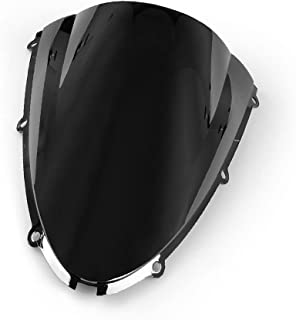 Motorrad Windschutzscheibe Shield Wind Screen Windschutzscheibe für Kawasaki Ninja ZX6R 636 2005 2008 ZX10R 2006 2007 (Schwarz)