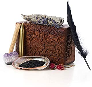 Signature Smudge Kit - Lavender + White Sage, Amethyst, Palo Santo, Abalone Shell, Chime Candle, Black Sand, Flower Bouque...