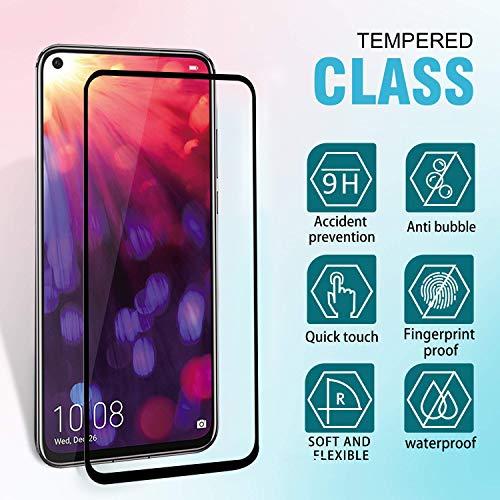 Ferilinso für Huawei Nova 4/ Honor View 20 Panzerglas Schutzfolie, [2 Stück] [Full Coverage] [Full Adhesive Glue] Blasenfrei gehärtetes Glas Schutzfolie (Schwarz) - 3