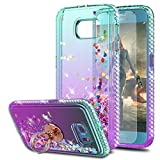 S6 Case Galaxy S6 Case with HD Screen Protector with Ring Holder,KaiMai Glitter Moving Quicksand Clear Cute Shiny Girls Women Phone Case for Samsung Galaxy S6-Aqua/Purple Ring