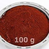 @tec Premium Pigmentpulver, Eisenoxid, Oxidfarbe - 100g (29,00€/kg) Farbpigmente/Trockenfarbe für Beton, Wandfarbe: rot/dunkelrot/red