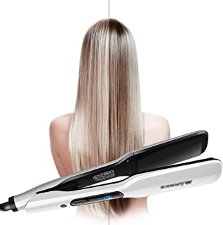 Hair Straighteners 210 Blue Screen Digital LCD,Plywood Straight Hair Tempering Curling Device Straight Dual-use,White