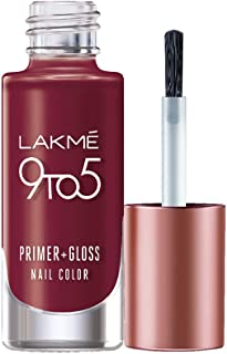 Lakme 9 to 5 Primer + Gloss Nail Colour, Red Alert, 6 ml
