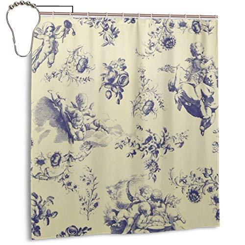Cortina de ducha para baño Blue Toile French Country Cherubine Pattern Set...