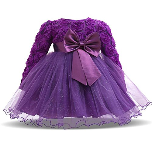 TTYAOVO Baby Mädchen mit Langen Ärmeln Spitze 3D Blume Prinzessin Birthday Party Tutu Kleider 13-24 Monate Lila