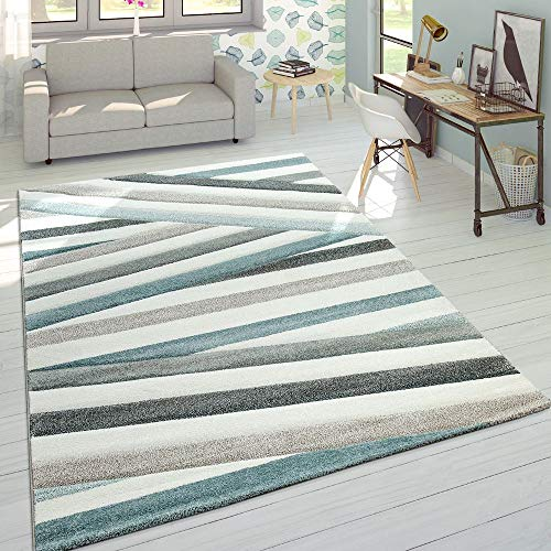 Designer Teppich Modern Konturenschnitt Pastellfarben Gestreift Zick Zack Creme, Grösse:80x150 cm