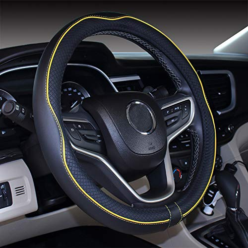 Istn Mikrofaser Leder Auto Lenkradbezug 38cm für die meisten Autos (Black Yellow)