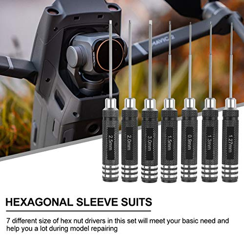 7pcs Hex Screw driver, RC Screwdriver Tools Kit Set (0.9mm 1.27mm 1.3mm 1.5mm 2.0mm 2.5mm 3.0mm) for RC Model, Helicopter, Bench Work, Precision Engineering