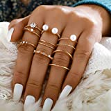 Sodoop Women Ring 5pcs/Set,Bohemian Vintage Silver Stack Rings Above Knuckle Blue Rings Set