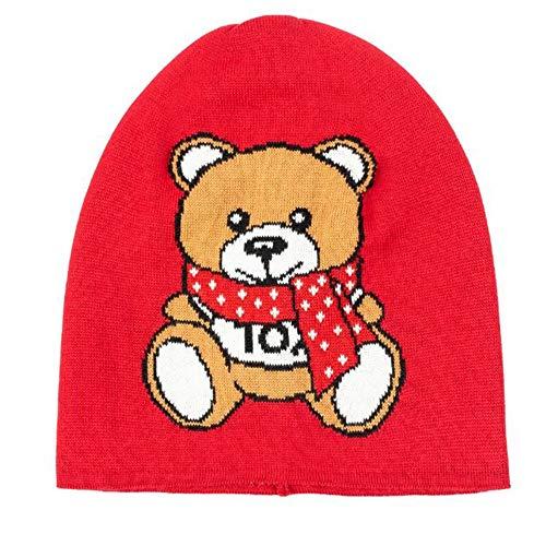 Moschino Mütze Rot Teddy Silhouette