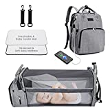 Diaper Bag Backpack - Travel Foldable Baby Bed with Bassinet Grey Portable Baby Bag, Tinpin Multi-Functional Baby Travel Bag, Lightweight & Large Capacity and Waterproof Changing Bed