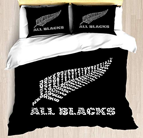 Qinniii All Blacks Duvet Cover Set The Rugby Team All Blacks of New Zealand,Decorative 3 Piece Bedding Set with 2 Pillow Shams