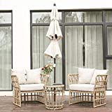 BLUU 3-Piece Aluminum Classic Patio Furniture Wicker Conversation Bistro Set with Cushions & Glass Coffee Table/Water Rust & Aging Resistant (Set)