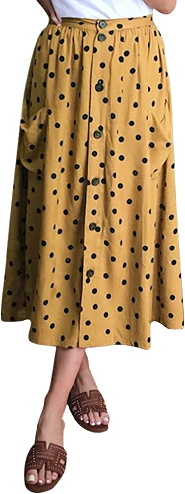 Women's Button Polka Dot Midi Skirt with Pockets Casual A-Line High Waisted Swing Skirt Brown