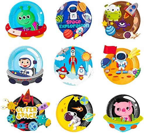 MALLMALL6 9Pcs Outer Space Paper Plate Art Kits for Kids Early Learning DIY Craft Art Project product image
