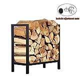Ufuns Firewood Rack Log Rack 61cm Indoor/Outdoor Fire Wood Storage Black Iron Firewood Log Holder