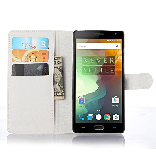 Ycloud Tasche für OnePlus Two Hülle, PU Ledertasche Flip Cover Wallet Hülle Handyhülle mit Stand Function Credit Card Slots Bookstyle Purse Design weiß