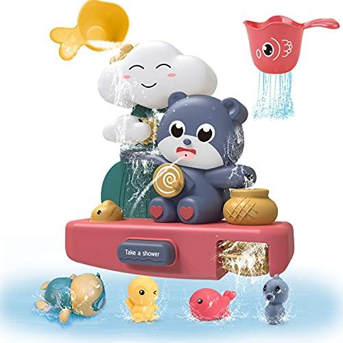 Luclay Juego de juguetes de baño de bebé, juguete de baño de ducha para 1,2,3+ años niño regalo juguetes conjunto, juguete de bañera de bebé niño 12 meses más