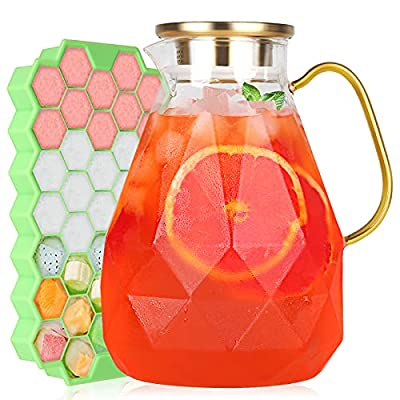 Glass Pitcher - 880Z Water Pitcher with Lid and Spout,Bonus Ice Cube Tray Comes - Sun,Iced Tea Jar,Carafe -Milk Fruit.Juice,Lemonade Beverage for Freezer,Distinct Diamond-Patterned - BPA,Lead-Free