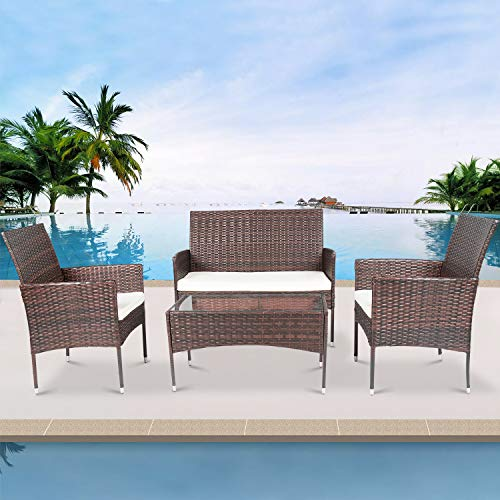 YeSea Outdoor Patio Furniture 4pcs Deck Furniture Rattan Chair Wicker Set Outdoor Indoor Use Backyard Porch Garden Lawn Outdoor Sofa Set Cushioned Seat Tempered Glass Table Top (Brown)