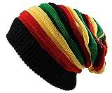 Qhome Fashion Jamaican Reggae Cap Multi-Colour Striped Rasta Hat Slouchy Baggie Beanie Skullies Gorro Rasta Women