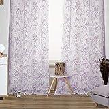 Viste tu hogar Pack 2 de Cortina Decorativa Semi Translúcida, Moderna y Elegante, para Salón o Habitación, 2 Piezas, 145 X 260 CM, Diseño Floral en Color Violeta.