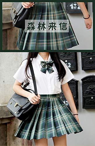 DRGE JK UniformPretty Fashion Girl JK Uniform Set Japanisches Schulmädchen Uniform Skater Weißes Hemd mit hoch tailliertem kariertem Faltenrock-Set,Sen lin lai Xin,XS