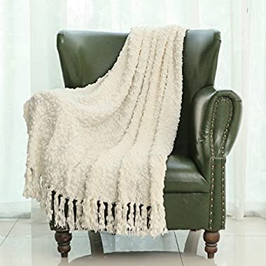 Mika Home Decorative Sofa Couch Chair Throw Blanket Solid Popcorn Pattern With Fringe 50X60 Inches, Ivory