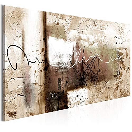 decomonkey Bilder Abstrakt 150x50 cm 1 Teilig Leinwandbilder Bild auf Leinwand Vlies Wandbild Kunstdruck Wanddeko Wand Wohnzimmer Wanddekoration Deko Modern beige braun