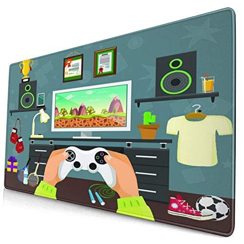 Groß Gaming Mauspad-75 x 40cm,Gaming Guy in seiner Wohnung mit Diplomen Laute Sprecher Boxhandschuhe,Rutschfeste Gummibasis Tastaturmatte mit Genähten Kanten für Laptop Computer Schreibtischunterlage