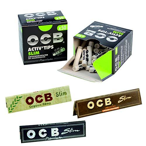 kogu Set OCB Activ Tips Slim Aktivkohlefilter, 7 mm, 100 Stück - inkl. Blättchen OCB Slim Black, Organic Hemp & Unbleached
